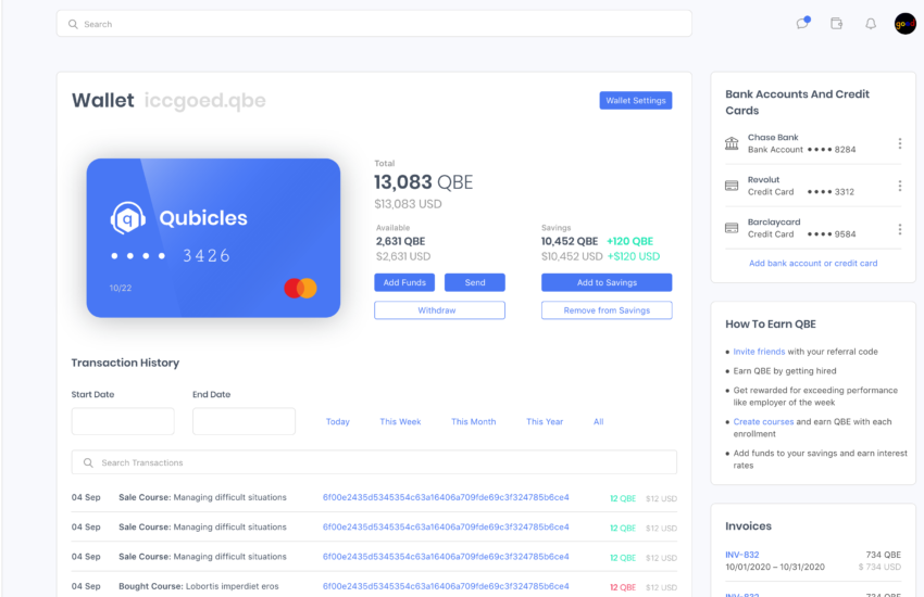 Qubicles cryptocurrency wallet